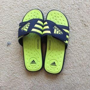 Addidas Neon Green Slides. Size 12